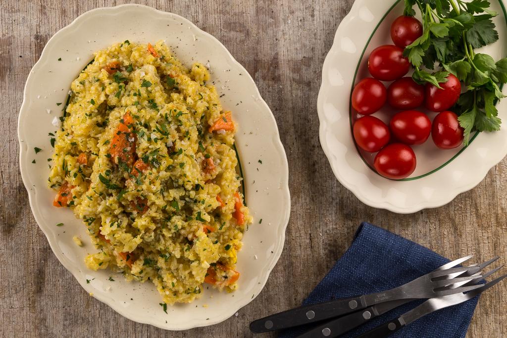 Krämigt ris med ägg & grönsaker
