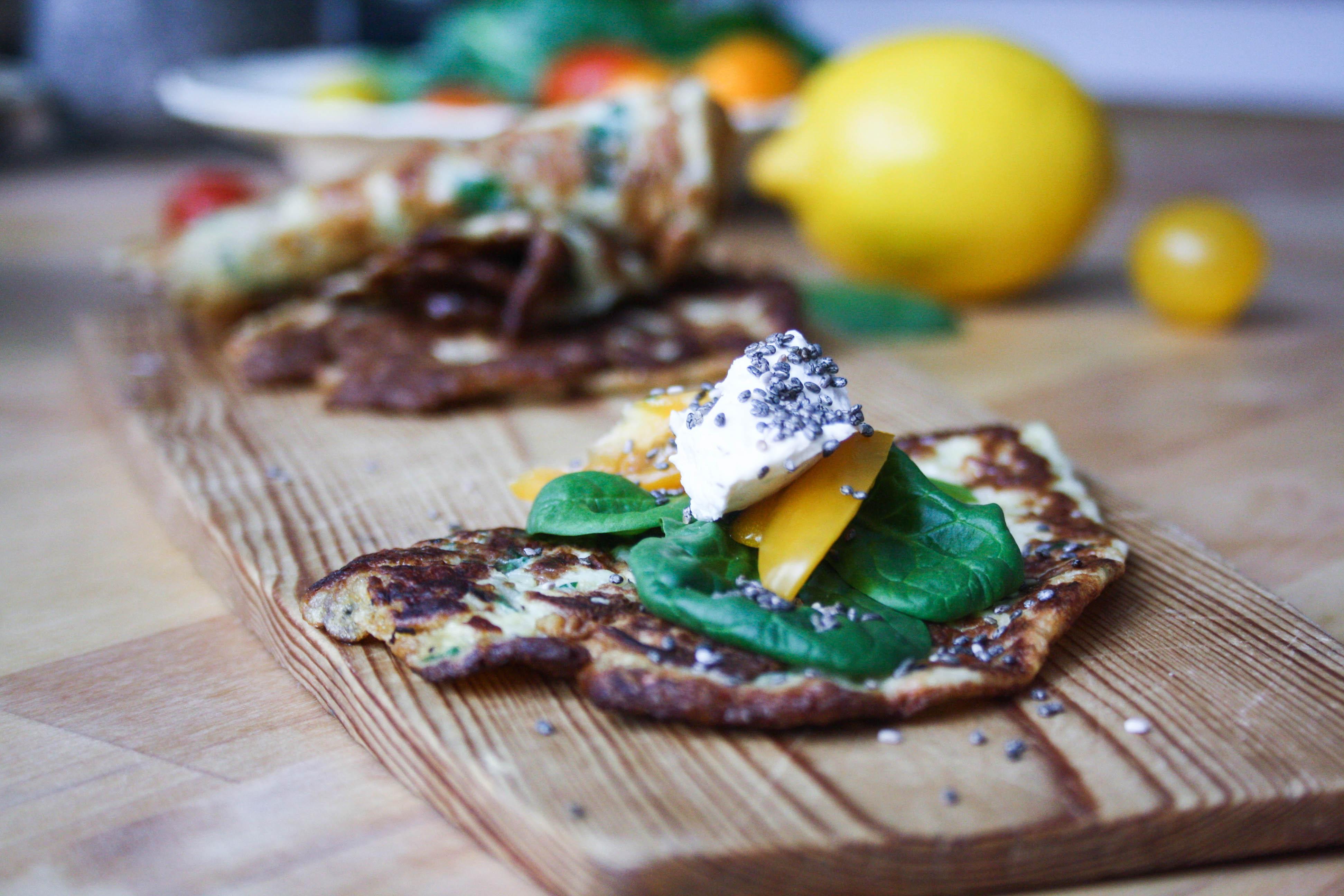 Omelett-tortilla-rullebröd