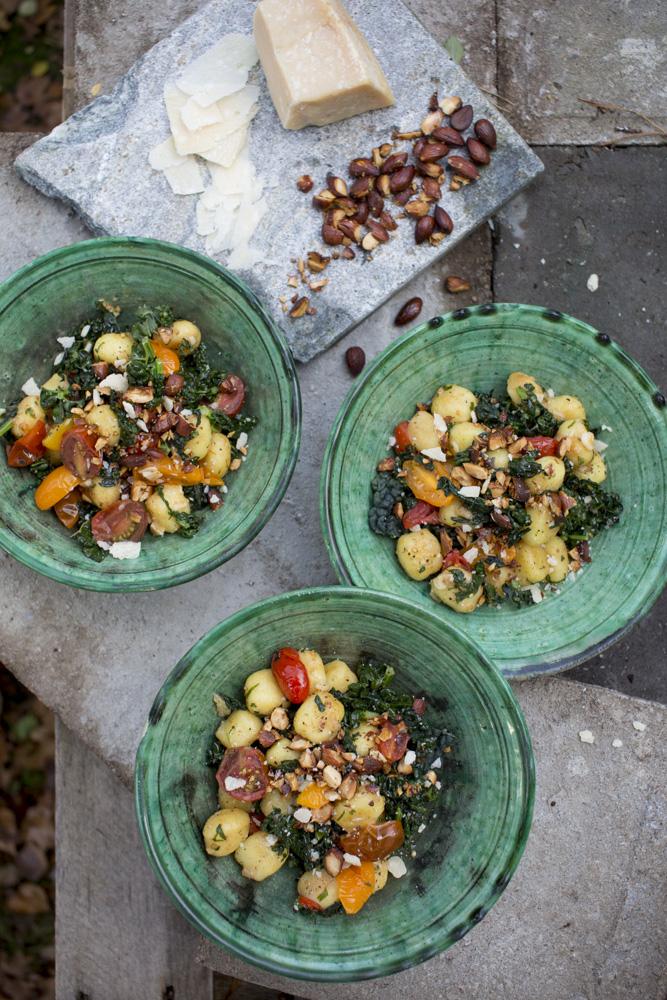 Gnocci med svartkål,svamp, parmesan & rostade mandlar
